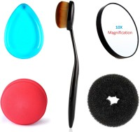 Kelley Foundation Powder Concealer Oval Blending Brush, Round Beauty Blender, Silicone Translucent Blue Anti-Sponge Makeup Applicator, 10x Magnification Hand Size Compact makeup mirror with suction cups, Lady Styling Bun Maker Medium Size Extreme Hair Volumizer (Set Of 5)(Set of 5)