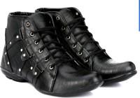 ADISO Men's Black ankle lenght Boots For Men(Black)