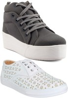 Long Walk Combo Pack of 2 High Heel & Stylish Sneakers For Women(Grey, White)