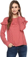 Harpa Casual Full Sleeve Checkered Women's Red Top