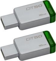 Kingston DT50 DataTraveler 50 - Combo of Two 16GB Pendrive - USB 3.1/3.0/2.0 16 GB Pen Drive(Silver)