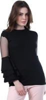 BuyNewTrend Casual Full Sleeve Solid Women's Black Top