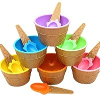 Skyzone 6 pcs Ice Cream Bowl Plastic Solid Colour Cream Cup Couple Bowl With Spoon. Plastic Dessert Bowl(Multicolor, Pack of 6)