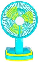WDS JY-5590 Super Rechargeable fan with Led Light 3 Blade Table Fan(Blue) 3 Blade Table Fan(Blue)