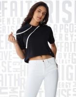 Metronaut Solid Women's Hooded Black T-Shirt