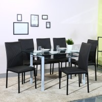 Flipkart Perfect Homes Luzon Metal 6 Seater Dining Set(Finish Color - Black)