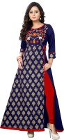 Vbuyz Women's Printed, Embroidered A-line Kurta(Blue)