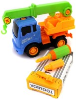 Building Mart 2-in-1 Friction Powered Take-A-Part Pretend Play Construction Vehicle Crane Truck Tools Playset
