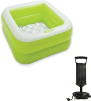 Speoma 3FT Inflatable Green Bath tub and Air pump for inflatable toys Combo(Multicolor)