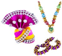 THE HOLY MART Multicolour Pagdi/ Turban with combination Mala & Bangle( 2 size) Deity Ornament(KRISHNA, Balgopal, Govinda, LADOO GOPAL, Hanuman, Radha krishna, Durga Devi, OTHER GODS,)