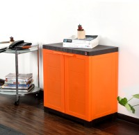Cello Novelty Compact Bamboo Cupboard(Finish Color - ORANGE & BROWN)