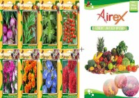 Airex Onion, Cluster Bean, Mint (Pudina), Tomato Cherry, Cosmos Mixed, French Marigold, Morning Glory and Gaillardia Double Red Seed + Humic Acid Fertilizer (For Growth of All Plant and Better Responce) 15 gm Humic Acid + Pack Of 50 seed * 4 Per Pkts of Vegetables) + (Pack Of 50 Seed * 4 Per Pkts Fl