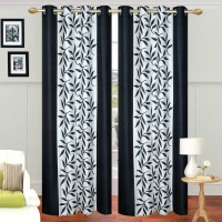 Ville Style 275 cm (9 ft) Polyester Long Door Curtain (Pack Of 2)(Floral, Black)