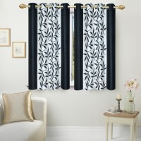 Ville Style 153 cm (5 ft) Polyester Window Curtain (Pack Of 2)(Floral, Black)