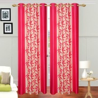 Ville Style 214 cm (7 ft) Polyester Door Curtain (Pack Of 2)(Floral, Pink)