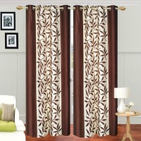 Ville Style 214 cm (7 ft) Polyester Door Curtain (Pack Of 2)(Floral, Brown)