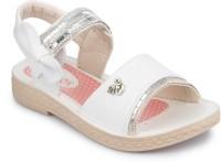 PHEDARUS Girls Velcro Flats(White)