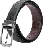 Da STEPS Men Formal Black Genuine Leather Reversible Belt