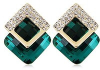 Shining Diva High Quality AAA 18k Gold Plated Crystal Stylish Fancy Party Cubic Zirconia Alloy Stud Earring