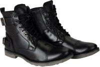 FAUSTO Outdoor Military High Ankle Leather Boots For Men(Black)