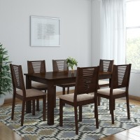 Woodness Vivian Solid Wood 6 Seater Dining Set(Finish Color - Wenge)