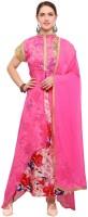 Saara Georgette Floral Print Semi-stitched Salwar Suit Dupatta Material(Semi Stitched)