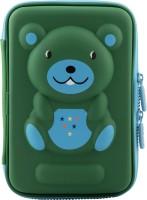 Ofsign Multipurpose Cute Bear Art Canvas Pencil Box(Set of 1, Green)