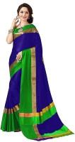 Bhuwal Fashion Solid Fashion Silk Cotton Blend Saree(Dark Blue, Gold, Green)