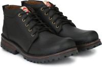 Andrew Scott Black Synthetic Leather Ankle Length Boots For Men(Black)