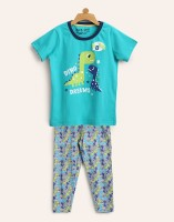 Miss & Chief Kids Nightwear Boy's Printed Cotton(Green Pack of 1)