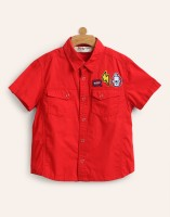 Miss & Chief Boy's Solid Casual Spread Shirt