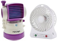 Elegant Shopping Air Conditioner Rechargeable Fan & Desktop Humidifier Fan Portable Cooling, Purple, White USB Fan, USB Humidifier(Purple, White)