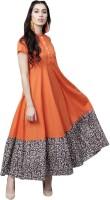 Aks Women Maxi Orange Dress