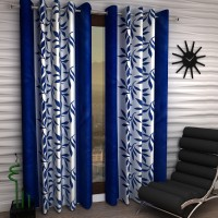 Fashion String Polyester Window Curtain 153 cm (5 ft) Pack of 2(Self Design Blue)