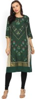 W Women's Floral Print Straight Kurta(Green)