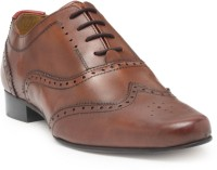 Hats Off Accessories Genuine Leather Premium Brogues Shoes Lace Up For Men(Tan)