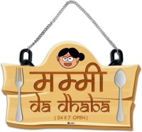 Indigifts Wall Hanging Mummy Da Dhaba Mother's Day Special Gift for Mom Mother Mummy Mother-in-Law Decorative Showpiece  -  22 cm(Wood, Brown)