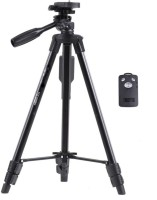 4Desire Yunteng VCT 5208 Professional Lightweight Aluminum Portable Tripod Stand 3 Way Head For Digital Camera Camcorder, Nikon Sony Canon DSLR, GoPro, Action Camera, and Smartphone with Mobile holder Tripod, Tripod Kit, Tripod Ball Head with Bluetooth Remote Shutter Tripod(Black, Supports Up to 150