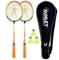 SUNLEY Swag Wide body Badminton Racquet Set Of 2 Piece, 3 Piece Nylon shuttles, 1 Piece Cover Multicolor Strung Badminton Racquet(G4 -3.25 Inches, 415 g)