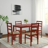 Woodness Winston Upholstered Solid Wood 4 Seater Dining Set(Finish Color - Mahogany)