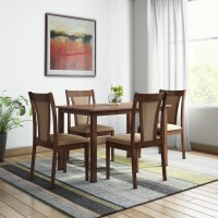 @home by Nilkamal Jewel Solid Wood 4 Seater Dining Set(Finish Color - Walnut)