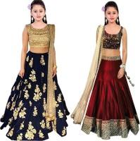 MF Retail Girl's Lehenga Choli Ethnic Wear Embroidered Lehenga, Choli and Dupatta Set(Multicolor, Pack of 2)