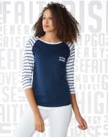 Metronaut Striped Women's Round Neck Multicolor T-Shirt