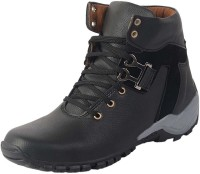 Axonza Casual Stylish Tic tack High Ankle Outdoor Synthetic Leather Boots Shoes for mens Boots For Men(Black)