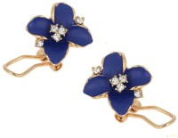 Deal Sutras Deal Sutras Elegant Fashion Cute Lady Girl Blue Flower Charms Crystal Ear Studs Earrings for girls and women Crystal Alloy, Zinc, Crystal Stud Earring
