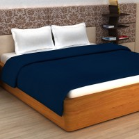 Story@Home Plain Double Coral Blanket(Polyester, Blue)