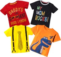 Tinchuk Boy's & Girl's Printed Cotton T Shirt(Multicolor, Pack of 4)