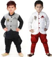 FTC FASHIONS Boys Festive & Party Kurta, Waistcoat and Pyjama Set(Multicolor Pack of 2)