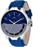 SVM Denim Blue Color Designer Leather Watch - For Boys