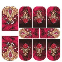 Imported Rose Flower Yellow Lace Nail Art Stickers Water Transfer Slider Decals N902(Red) - Price 119 60 % Off